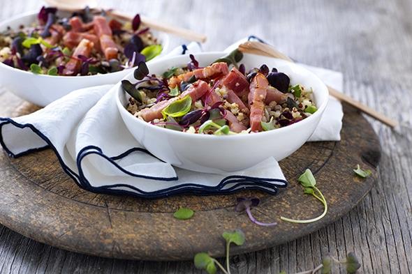 Salade quinoa lardons fumés