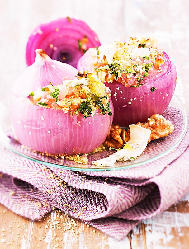 Oignons rouges farcis au gorgonzola